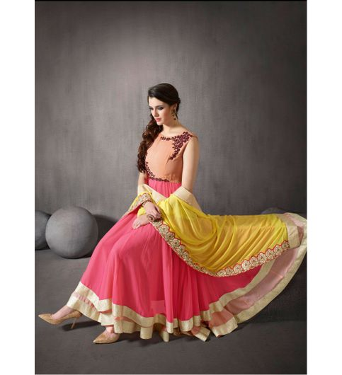 Tantalizing Designer Cream  Pink Color Latest Indian Designer Anarkali Salwar Kameez Dress With Duptta
