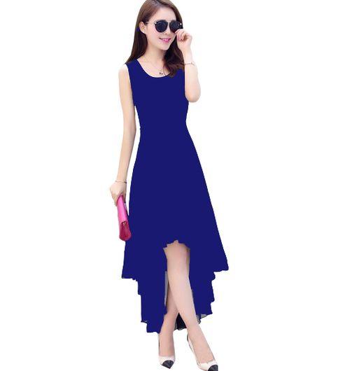 women blue georgette high low  dress