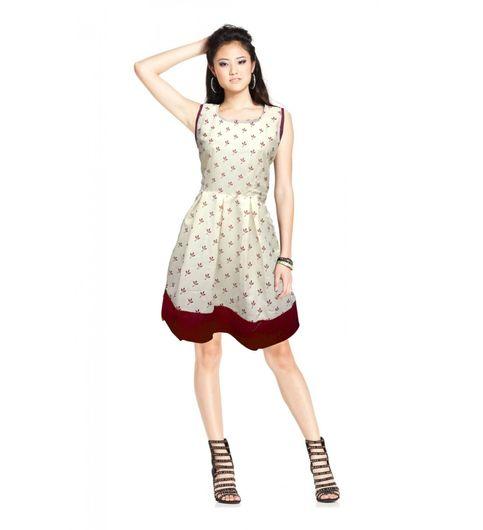 Exclusive Designer Cream and Red Dress