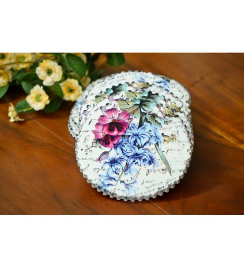 Nestroots Cool  Quirky Floral Printed Ceramic Coasters Set of 4
