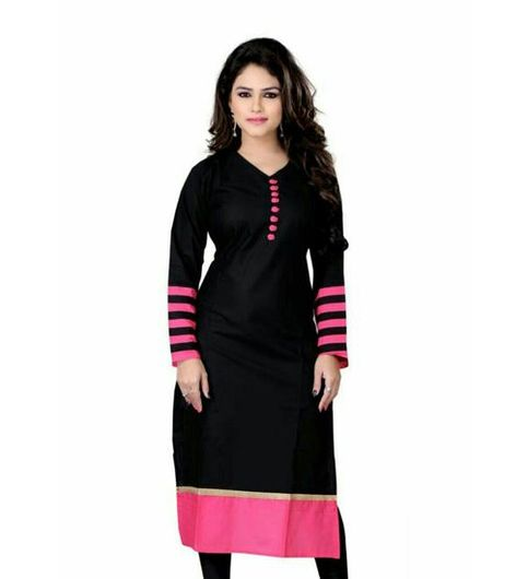 Omstar Fashion black Indo cotton semi-stitiched kurti