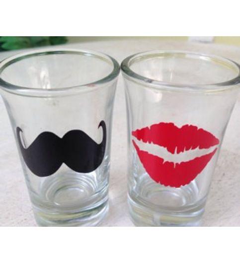 Mustache Kiss Shot Glasses