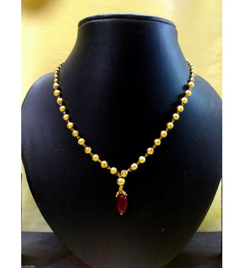 Buy one gram gold plated red beads latkan chain cum necklace one gram gold plated red beads latkan chain cum necklace bollywood style desing mozeypictures Image collections