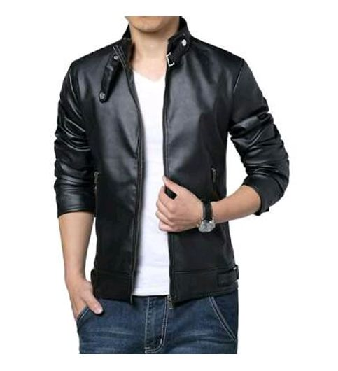2017 New Black PU Leather Jacket For Mens