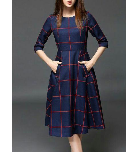 NAVY BLUE CHECKS WESTERN DRESS
