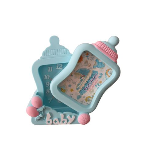 GeekGoodies Baby Bottle Design Table Alarm Clock With Photo Frame