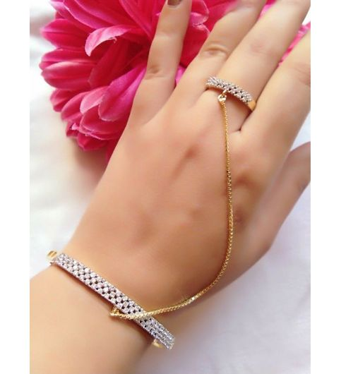 A2 fashions Stylish Bracelet with Ring In Australian Diamonds