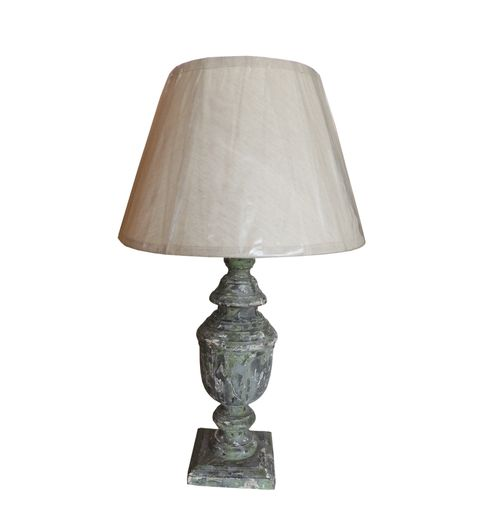 Decor Mart Table Lamp - Wood Grey Colour with Cotton Natural Colour Shade248