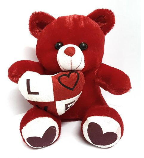 Red Love Heart Teddy Bear By CGB Stuffed Soft Toy for Kids 30 CM