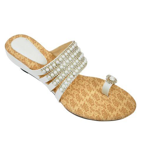 Altek  Stylish Partywear White Heel Wedges