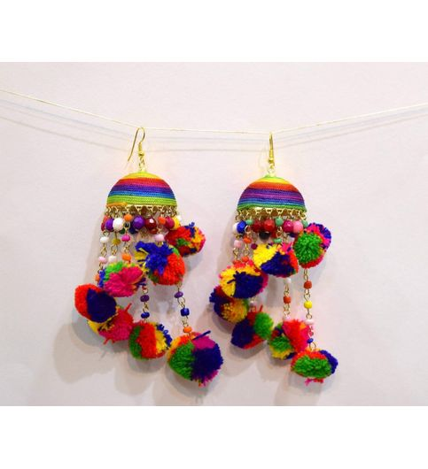 buy naina creations handcrafted pom pom big jhumka earrings at 42