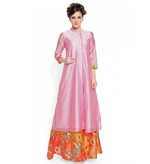Admyrin Pink Cotton Silk Kurta With Digital Printed Skirt