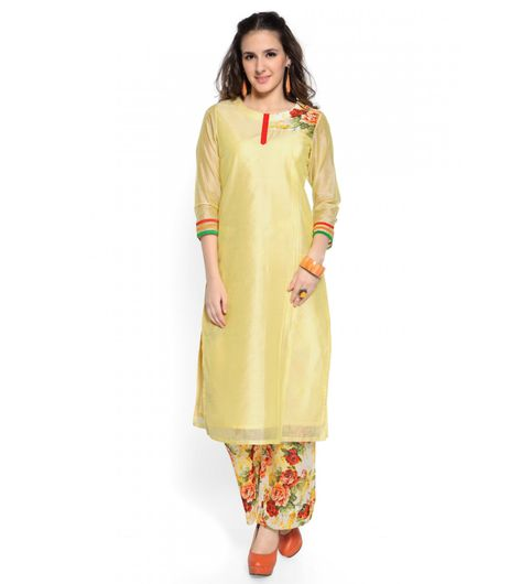 Admyrin Yellow Cotton Silk Printed Kurta With Pant