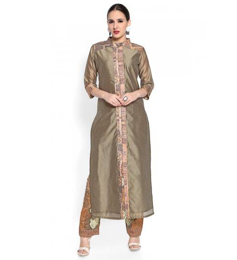 Admyrin Olive Cotton Silk Digital Printed Kurta With Pant