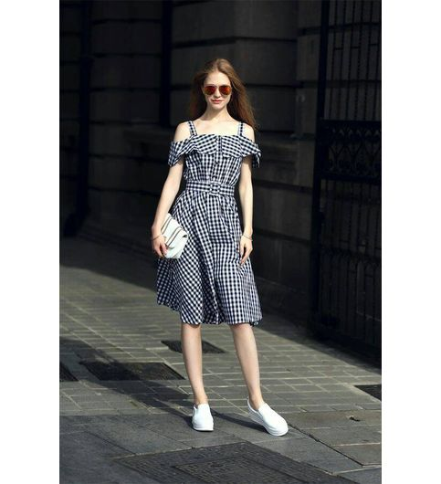Trendy Off Shoulder Black And White Stripes Check Dress