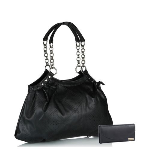 Goldmine Designer Hand Bag and Clutch Combo For Girls and Womens Black Party Ware