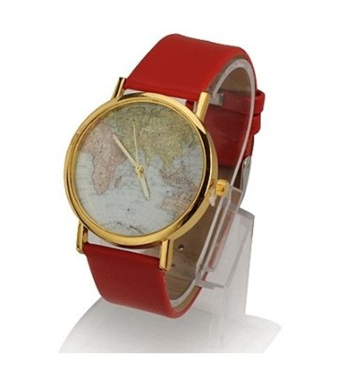 Buy world map pattern red strap watch at 45 off in india world map pattern red strap watch gumiabroncs Images