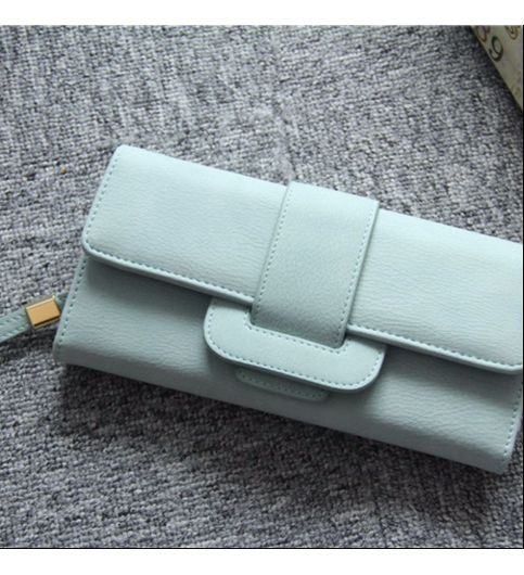 NEW SIMPLE DRAW BELT BUCKLE THREE FOLD LONG PARAGRAPH LADIES WALLET