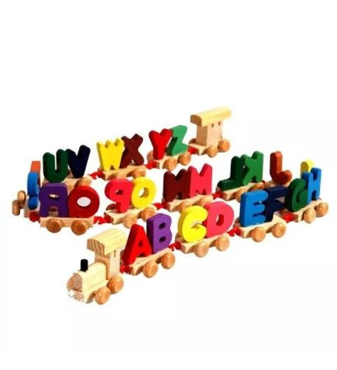 Onlineshoppee Wooden Toy Train Alphabet Name Letters