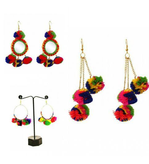 Combo of 3 pairs of Pom Pom Earrings