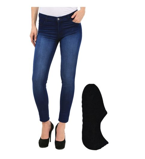Fuego Fashion Wear Blue Jeans For Women With Assorted Boot Socks GRL-JNS-MW1-BOOT-SOCKS-BLK