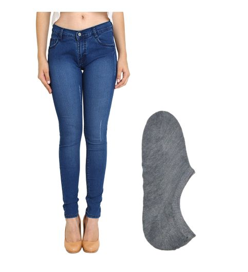 Fuego Fashion Wear Blue Jeans For Women With Assorted Boot Socks GRL-JNS-ACT1-BOOT-SOCKS-GRY