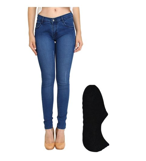 Fuego Fashion Wear Blue Jeans For Women With Assorted Boot Socks GRL-JNS-ACT1-BOOT-SOCKS-BLK