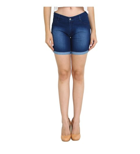 Fuego Fashion Wear Blue Monkey Wash Shorts For Women-SHORT-MW1