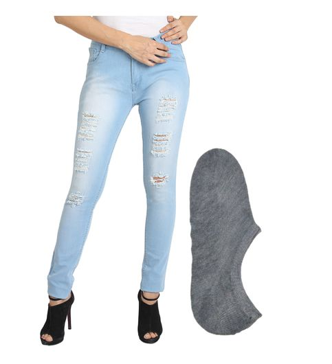 Fuego Fashion Wear Light Blue Jeans For Women With Assorted Boot Socks GRL-JNS-3HD3-BOOT-SOCKS-GRY