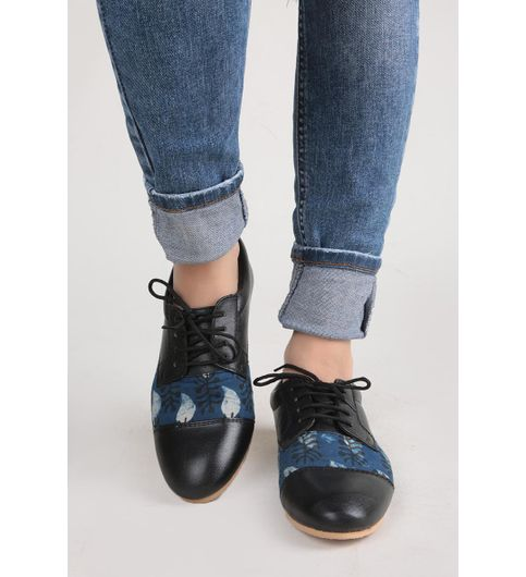 Blue And Black Ajrakh Oxford Shoes