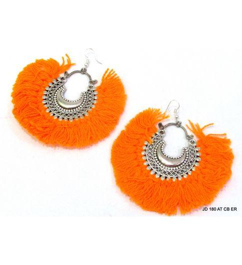 JD Afghani Chandeliar summer boho Dangle drop tassel fluffy thread Hippie earrings