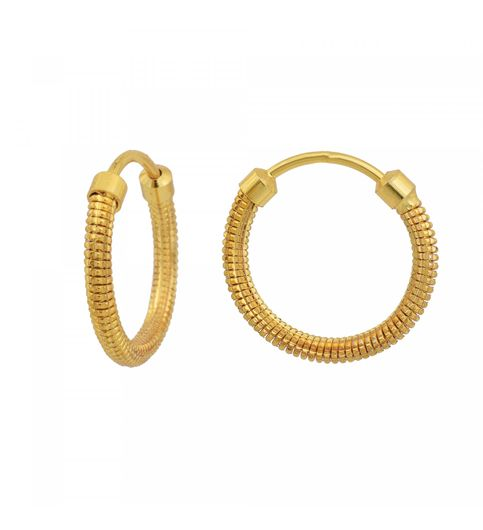 Memoir Gold Plated Br Simple Sober Light Weight Daily Use Carved Design Hoop Bali Earrings Women