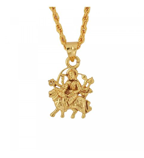 Buy memoir gold plated brass maa durga at lowest price memoir gold plated brass maa durga sherawali maa hindu god chain pendant hindu necklace jewellery men mozeypictures Image collections