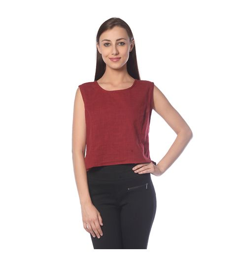 Vedic Womens Maroon Sleeveless Top