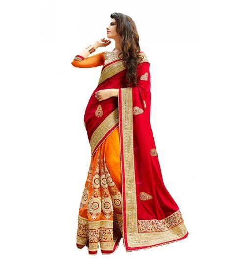 Fashion Fiza Red  Orange Satin  Net Lace Work Moti Work Stone Work Patch Work Saree with Blouse Pis