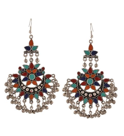 Afghani Tribal Dangler Hook Chandbali Earrings