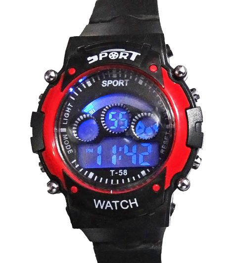 OMs Sport Black And Red Digital Kids Watch