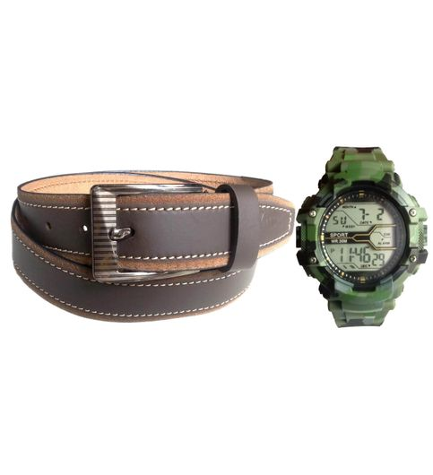 OMs Combo of Brown Leather Belt with Army Green Digital Watch VLCOM018