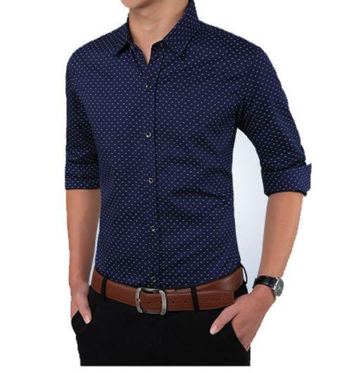Dark blue formal satin cotton shirt