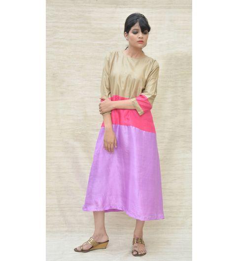 Handspun Khadi Silk Beige and Pink Maxi Dress