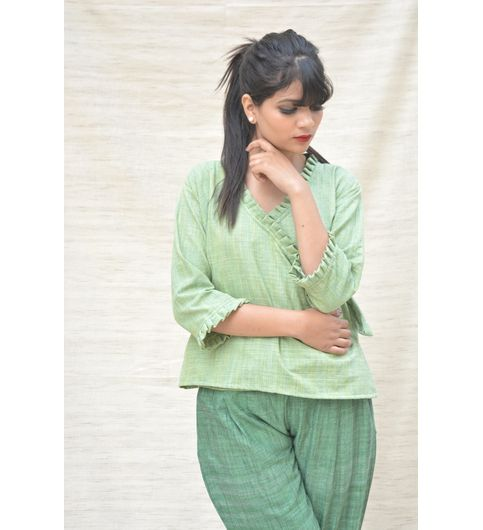 Green Khadi Cotton Ruffled Crop Top