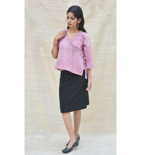 Pink Khadi Cotton Ruffled Crop Top