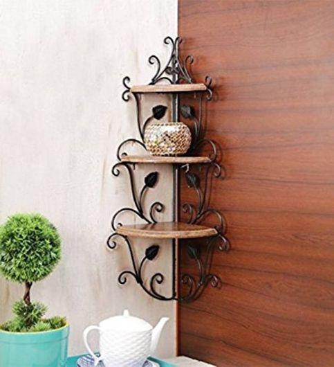Decorasia Wooden Corner Rack Home Decor Wall Shelf