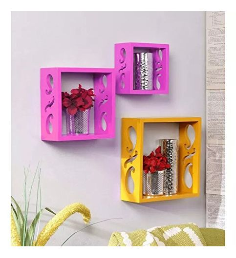 Decorasia Square Nesting Wooden Wall Shelf  Colour - Pink  Yellow