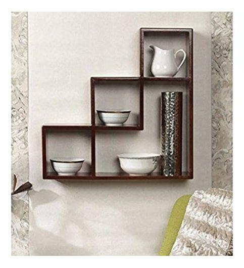 Decorasia L Shape MDF Brown Wall Shelf Size - 17 x 4 x 17 Inch