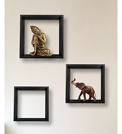 Vintageware Decorative Wall Mounted Shelves - Set of 3 Black