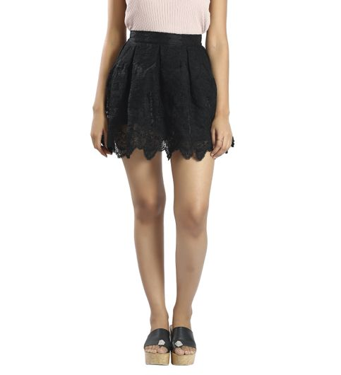 Pleated Black Mini Skirt C24-28