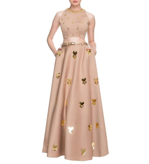 Faun embellished lehenga  crop top with belt