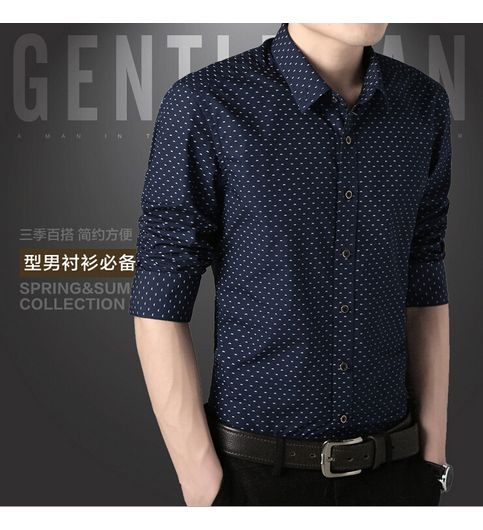 Mens Nevy Blue Dotted Shirt Pack of 1