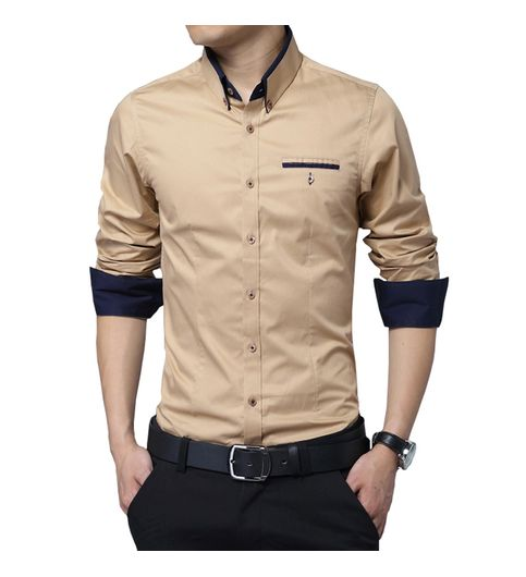 New Fancy Cream Polyester Party Men Shirt